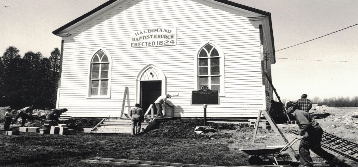 old black and white photo of church being built