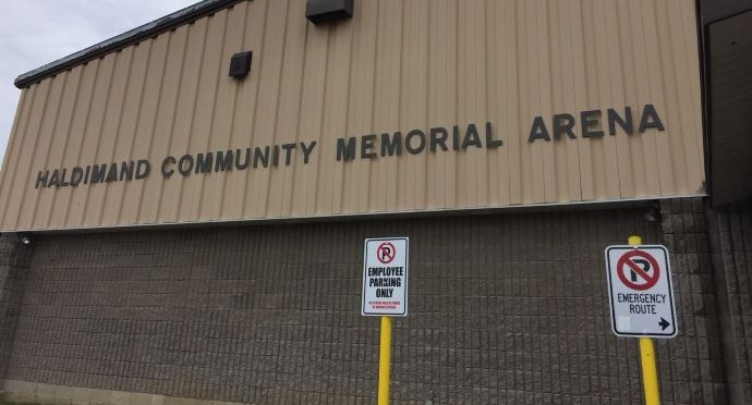grey building that says Haldimand Memorial Arena