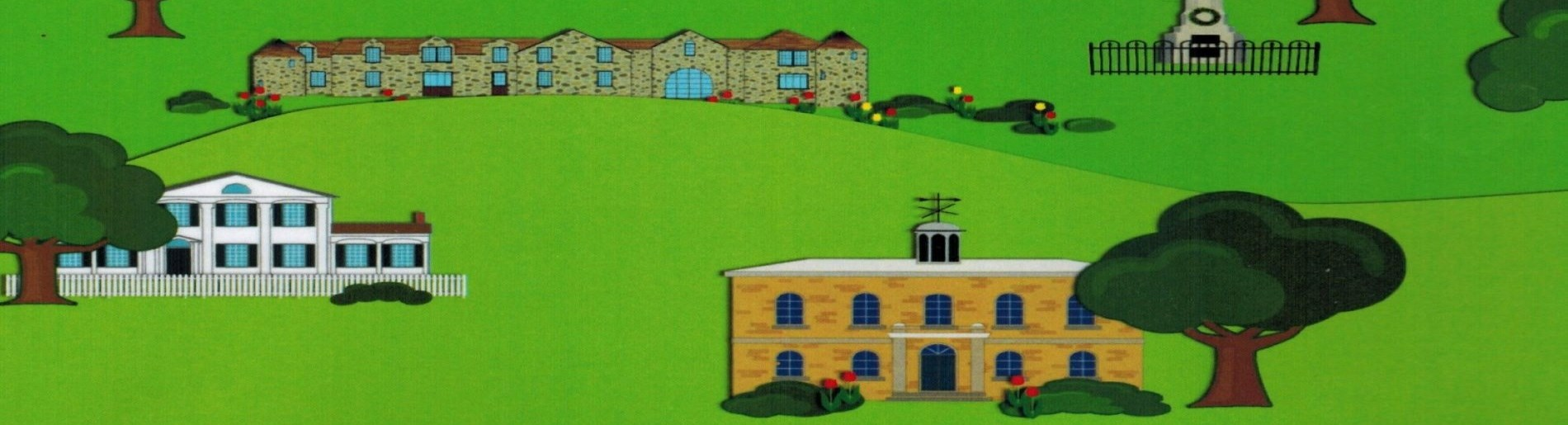 cartoon drawing of old buildings and landscape