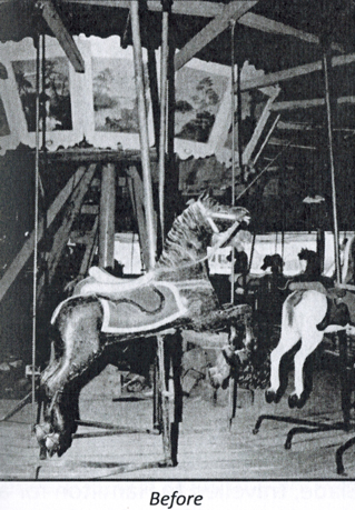 black and white photo of old carousel